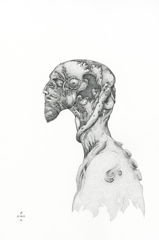 Earworm, 2014, ink