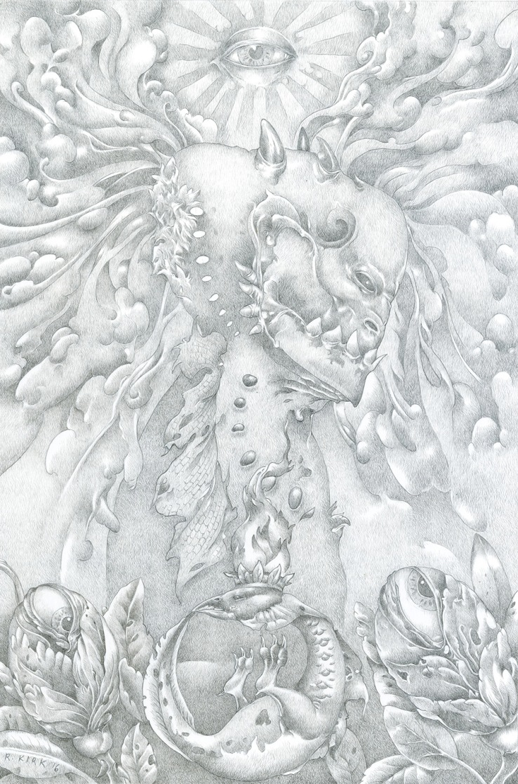"Flowers of Wisdom, 2016, silverpoint, 9"" x 6"""
