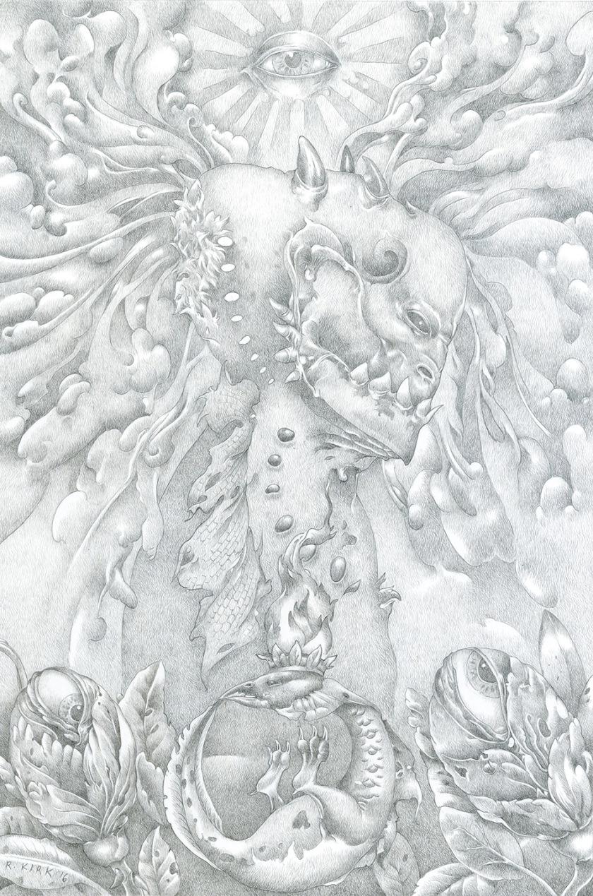 "Flowers of Wisdom, 2016, silverpoint, 9"" x 6"""