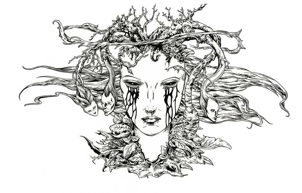 Woman's face surrounded by organic fantasy elements.