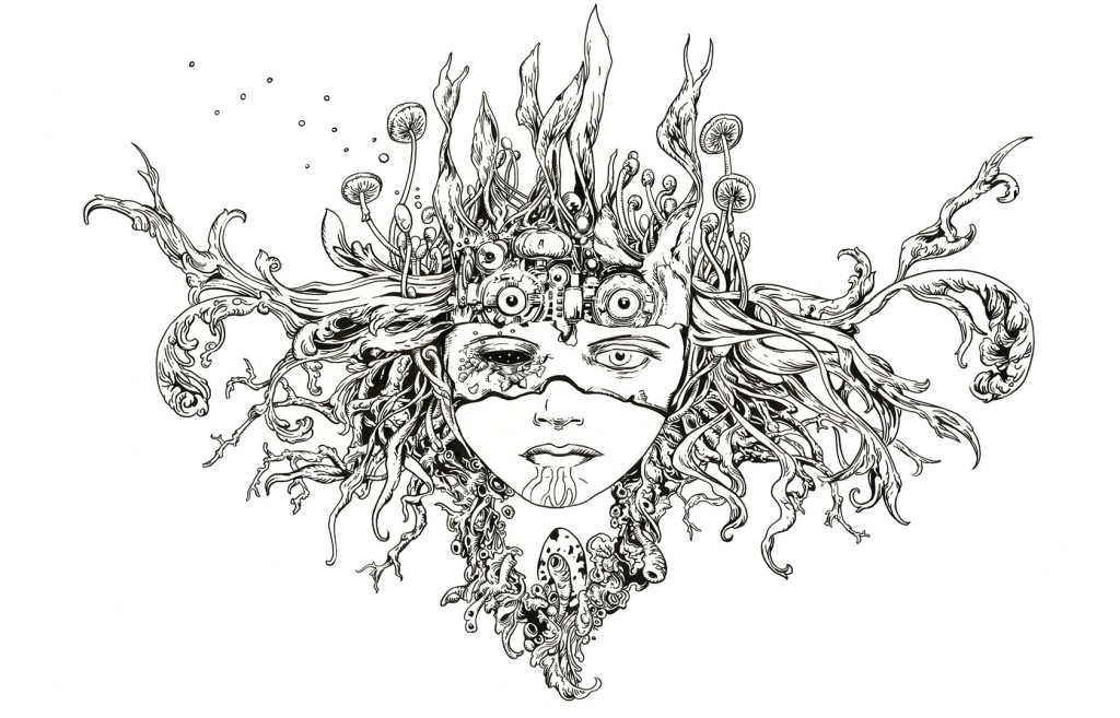Young woman's face framed with organic and mechanical fantasy elements.