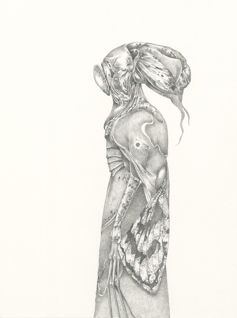Graphite drawing of fantasy character